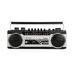 Riptunes Cassette Boombox, Retro Blueooth Boombox, Cassette Player and Recorder, AM/FM/SW-1-SW2 Radio-4-Band Radio, USB, SD, Headphone Jack,Riptunes,SG_B07KFQTJWS_US