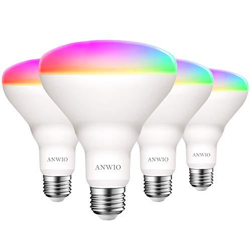 ANWIO Lampadina LED Smart Wifi Attacco E27,9W Equivalenti a 60W,806Lm,Forma BR30,Compatibile con Alexa,Echo and Google Assistant,Intelligente Dimmerabile,Controllo a Distanza da App,Pacco da 4 Pezzi