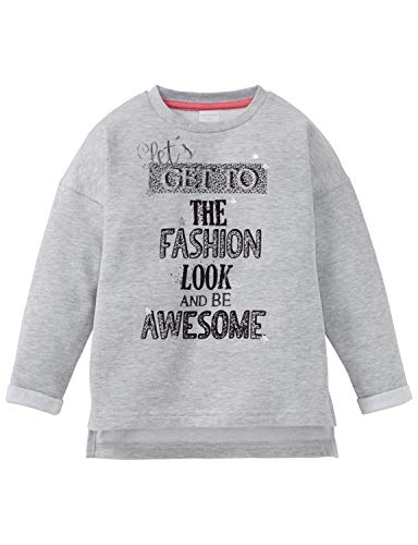 Schiesser Mädchen Rebell Girl Sweatshirt T-Shirt, Grau (Grau-Mel. 202), (Herstellergröße: 104)