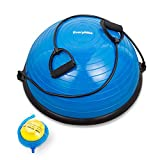EveryMile Half Ball Balance Trainer, Balance Ball Stability Yoga Exercise Ball with Resistance Bands & Pump for Home Gym Core Training Ab Strength Workouts Yoga Fitness, 23 inch Anti-Skid Surface