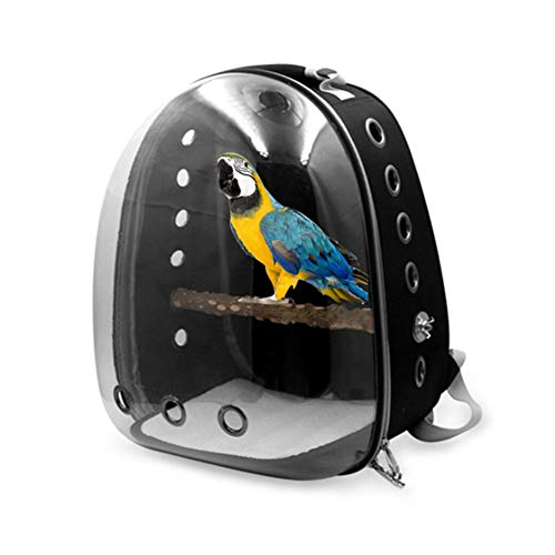 bromrefulgenc Space Capsule Parrot Bag,Portable Oxford Cloth Transparent Cover Hollow Case Parrot Bird Travel Bubble Backpack Carrier for Birds Black