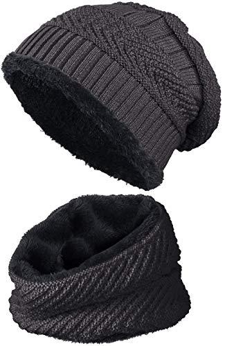 warm gefütterte Beanie + Schal mit Teddy-Fleece Fütterung mit Flechtmuster Wintermütze Einheitsgröße für Damen & Herren Mütze (4A) (Dunkelgrau/Schwarz)