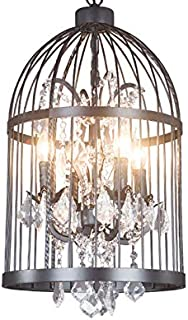 KALRI Industrial Vintage Lighting Crystal Ceiling Chandelier 4 Lights Black Metal Birdcage Chandelier Hanging Pendant Ceiling Lamp Fixture
