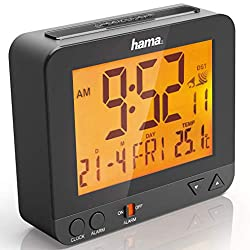 Hama Radio-Controlled Alarm Clock RC550(Sensor-Controlled Night Light, Snooze, Temperature and Date Display)–Black, Plastic, Black, 9.5 cm