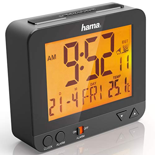 Hama Radio-Controlled Alarm Clock RC550 (Sensor-Controlled Night Light, Snooze, Temperature and Date Display) – Black, Plastic, Black, 9.5 cm