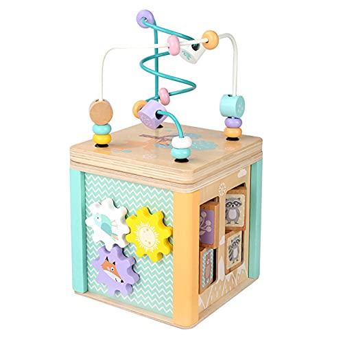 Juguete Montessori para bebés, Juguete de Madera Montessori con Cuentas, Juguete de reconocimiento de Forma de Laberinto, Reloj de Dibujos Animados, Juguete de Aprendizaje para niños