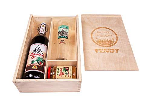 Fendt Holzkiste 1,0l BV Fl. Dieselross Öl+Glas+Senf
