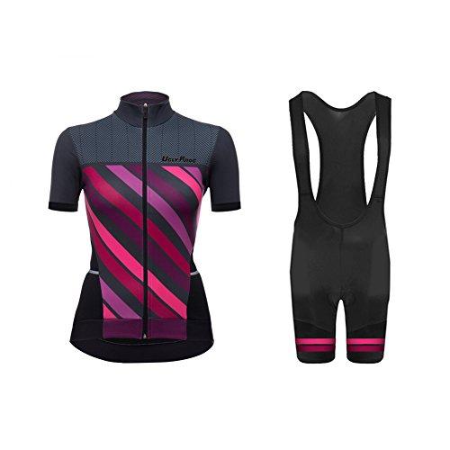 UGLY FROG Radtrikot Damen Kurzarm Fahrradbekleidung Set Outdoor Sports Radfahren Jersey + Radfahren Latzhose Shorts im Sommer
