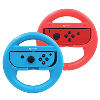 Ematic Nintendo Switch Steering Wheel 2-Pack Red & Blue - For Nintendo Switch - Joy Con Controllers not Included - Full access to all ports & buttons - Ergonomic design for comfort-ability - L by Ematic