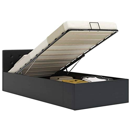 FAMIROSA Cama canapé hidráulica Cuero sintético Negro 90x200 cm