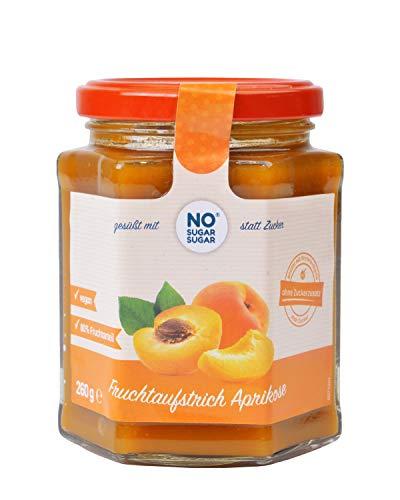 NO SUGAR SUGAR Fruchtaufstrich Aprikose/Marille ohne Zuckerzusatz mindestens 80% Fruchtanteil mit Erythrit und Stevia | Brotaufstrich Hergestellt in der EU (260g) (1x 260g)