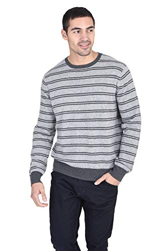 State Fusio Men's Relaxed Fit Striped Crewneck Sweater Cashmere Merino Wool Long Sleeve Casual Pullover (Medium, Heather Grey/Charcoal)