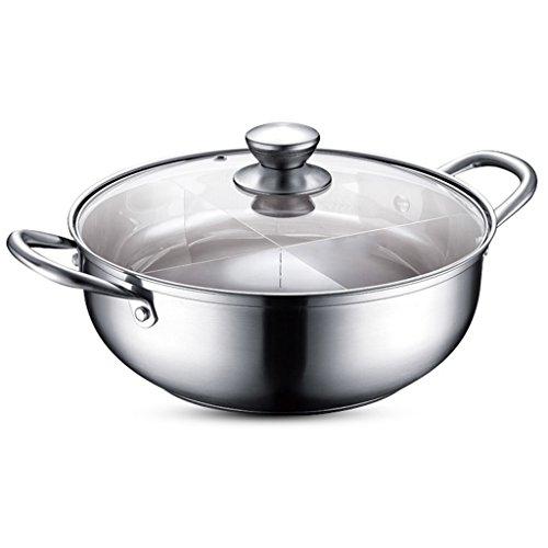 Pots Fondue Épais 304 Acier Inoxydable Double Bottom Stockpot Grande Maison 30 cm Shabu Cuiseur ZHAOSHUNLI (Color : Grid)