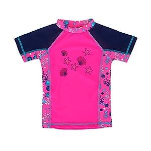 ESTAMICO キッズ 半袖 Tシャツ ラッシュガード UVカットUPF+50 男の子 水着 (薔薇色, 110cm/4T)