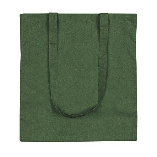 eBuyGB Lote de 10 bolsas de lona de algodón para la compra y playa de 42 cm, Green (Verde) - 1205809-10a