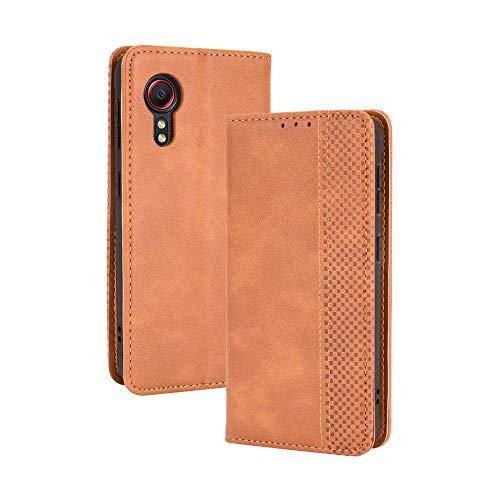 GOGME Leder Hülle für Samsung Galaxy Xcover 5 Hülle, Premium PU/TPU Leder Folio Hülle Schutzhülle Handyhülle, Flip Hülle Klapphülle Lederhülle mit Standfunktion und Kartensteckplätzen, Brown