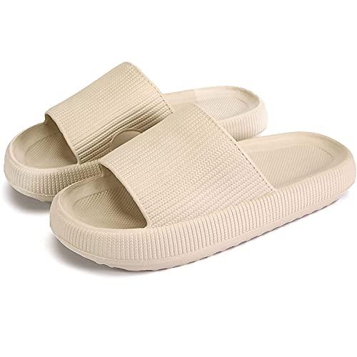 Nmg1 Zapatillas de Almohada para Mujeres y Hombres   Sandalias de baño de Ducha   Extremadamente cómodo   Suela Gruesa Antideslizante y Acolchada (Color : Beige, Size : 42-43)