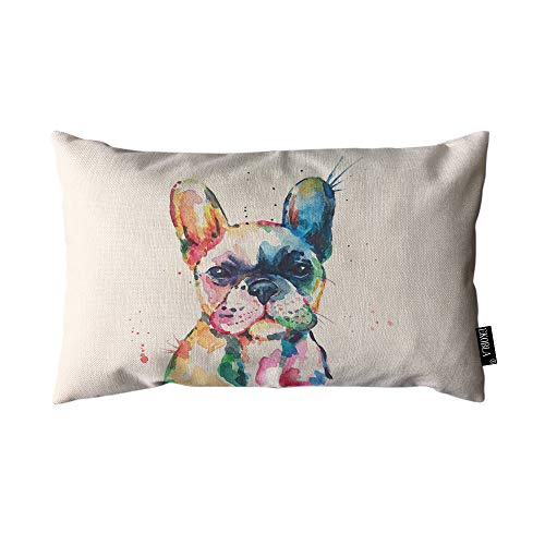 EKOBLA Throw Pillow Cover Watercolor French Bulldog Hand Drawn Paint Puppy Funny Animal Cute Lovely Pet Rectangular Throw Pillow Covers for Couch Sofa Home Decor Cotton Linen 12x20 Inch