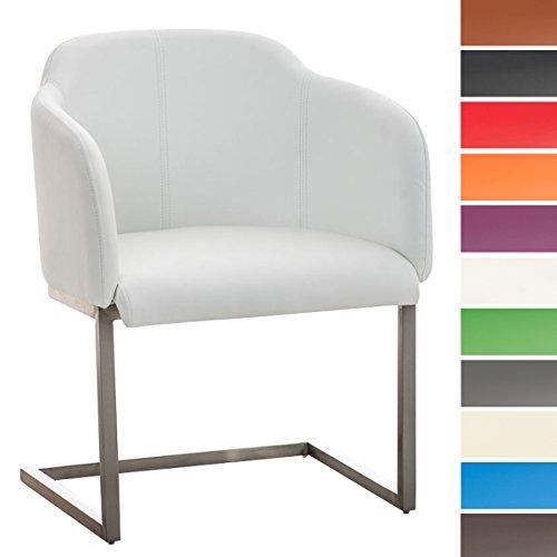 CLP Edelstahl Freischwinger-Stuhl MAGNUS, Armlehne Sitzfläche + Lehne gut gepolstert