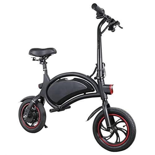 Bicicleta eléctrica Plegable for Adultos Ligeros ebike 25km / h 12 Pulgadas Rueda Mini Poderosos Hombres for Mujer Scooter eléctrico (Color : Negro)