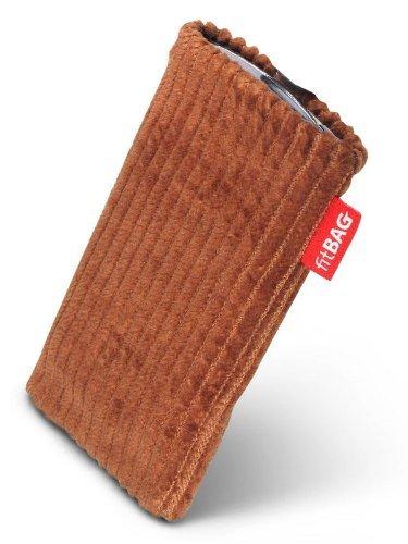 fitBAG Retro Schoko Handytasche Tasche aus Cord-Stoff mit Microfaserinnenfutter für Vodafone 527