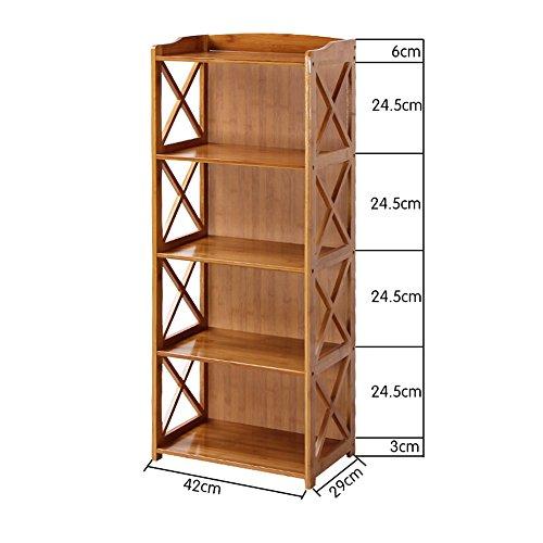 Bücherregal CHUANLAN Bambus Standregale Wohnzimmer Schlafzimmer Büro Student Kind Kleines (Farbe : Holzfarbe, größe : 42 * 29 * 107cm)