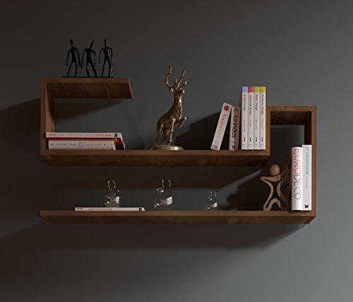 WAVE Mensola da muro - Mensola Parete - Mensola Libreria - Scaffale pensile per studio / soggiorno in Design moderno (Noce)
