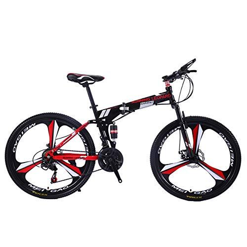 Faltbares Fahrrad Bergrad Nabe Größe 26 Zoll Straße Fahrrad 21 Geschwindigkeitsfederung Fahrrad Doppelscheibenbremse,Rot