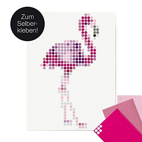 dot on Flamingo Poster - 30 x 40 cm Für Kinder und Erwachsene Klebepunkte dot on art Diy Kleb Dir Dein Eigenes Kunstwerk