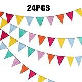 G2PLUS 24pcs Guirnalda Banderas Banderines de Colores triángulo Banner Guirnaldas Tela Banderines,para la Fiesta de Bodas del cumpleaños Decoración Colgante de Fiestav