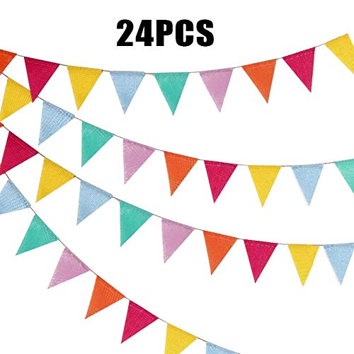 G2PLUS Multicolor Linen Bunting 4.5 M Colorful Flag Banner Jute Pennant Flag Garlands Fabric Triangle Flags Vintage Cloth Shabby Chic Decoration for Rustic Wedding