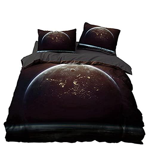 Juego de funda de edredón con funda de almohada de lujo, suave, hipoalergénico, microfibra, efecto 3D, diseño de cielo estrellado, juego de cama (220 x 260 cm, A4)