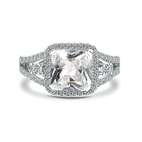Blisfille 925 Silber Ringe Damen Silberring Celtic Sterling Silber Ring Damen Trauringe Silber Mit Strass Platz Kristall Weiß Ringe Größe 57 (18.1) Valentinstag