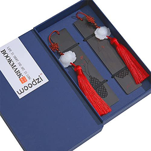 WOODZI Bookmarks with Tassels and Gift Box, Precious Wood Bookmark, Handmade Book Mark for Couples are The Best Christmas Gifts. (2 PC)