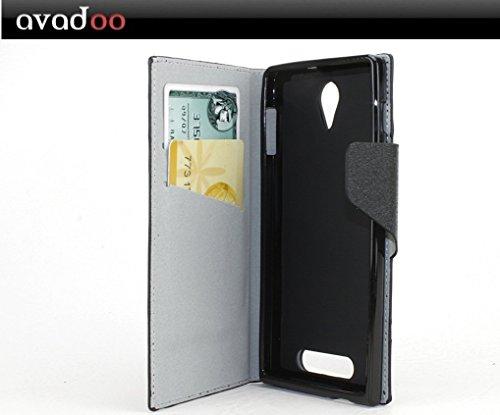 avadoo® Archos 50c Oxygen Flip Case Cover Tasche Schwarz mit Magnetverschluss und Dualnaht als Cover Tasche Hülle