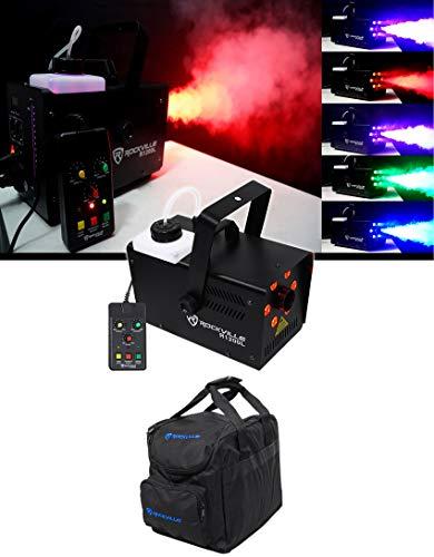 Rockville R1200L Fog/Smoke Machine w LED Lights/Strobe, DMX+2 Remotes+Carry Bag
