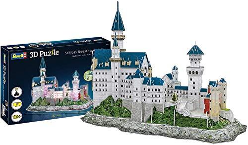 Revell 3D Puzzle 00151 Schloss Neuschwanstein von Ludwig II. von Bayern, LED-Edition Die Welt in 3D entdecken, Bastelspass für Jung und Alt, farbig