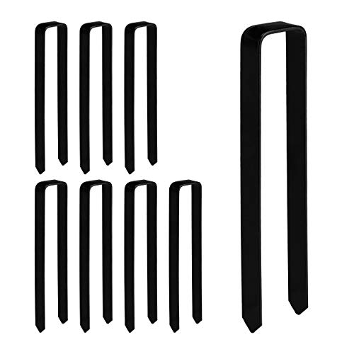 Relaxdays 8 x Erdanker, Befestigung Rosenbogen, U-Form, Erdhaken groß, XXL, HBT: 30 x 6,5 x 2,5 cm, Stahl Bodenanker, schwarz