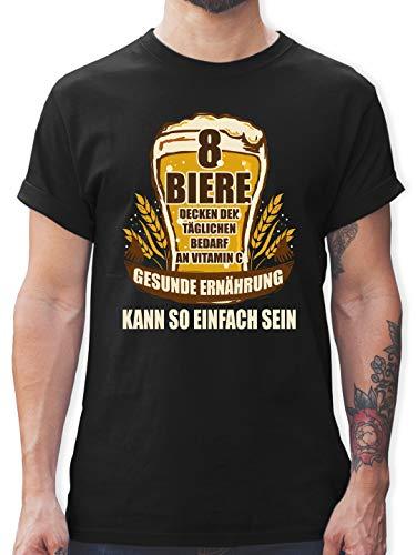Sprüche - 8 Biere Decken den Tagesbedarf an Vitamin C - M - Schwarz - Tshirt sprüche männer - L190 - Tshirt Herren und Männer T-Shirts