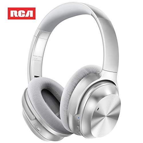 Active Noise Canceling Headphones, RCA Bluetooth 5.0 Headphones Over Ear Wireless Headphones with Mic, Foldable Soft Protein Earpads, 25Hrs Playtime for Travel Work TV PC Cellphone