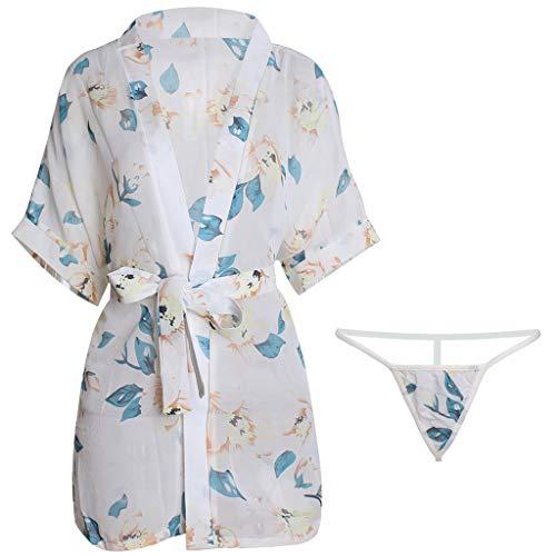 serliyFrauen Sexy Dessous Druck Nachtwäsche Leibchen Nachthemd Unterwäsche Pyjama Set Bademantel
