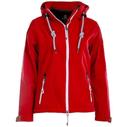 Michael Heinen Softshelljacke für Damen Wasserdicht - Red 48 - Regenjacke Mit Kapuze Atmungsaktiv