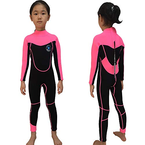 Realon Kids Wetsuit Girls Full Surfing Suit 2mm Children Swim Wear Toddler Snorkeling Canoeing Diving Suits Youth (2mm Pink Full, XS)