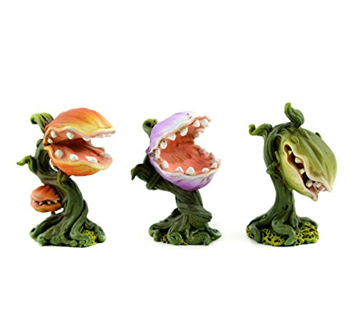 Miniature Garden Venus Fly Trap Set of Three Little Shop of Horrors Inspired Resin Plants