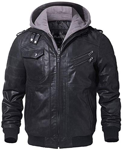 FLAVOR Men Brown Leather Motorcycle Jacket with Removable Hood (Small, Black+Gray)