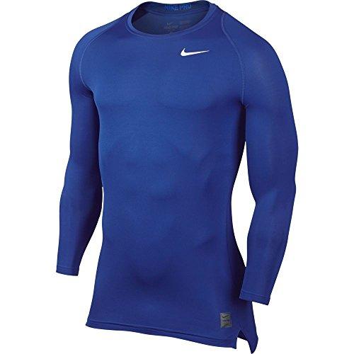 NIKE Long Sleeve Pro Cool Compression Camiseta de Mangas largas, Hombre, Azul/Blanco, L