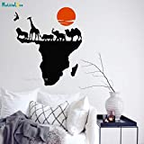 BLOUR Naturaleza Salvaje Animal Mapa del Mundo de África continentes Pared calcomanía Vinilo Pegatina decoración del hogar Oficina agencia de Viajes diseño murales YT4450