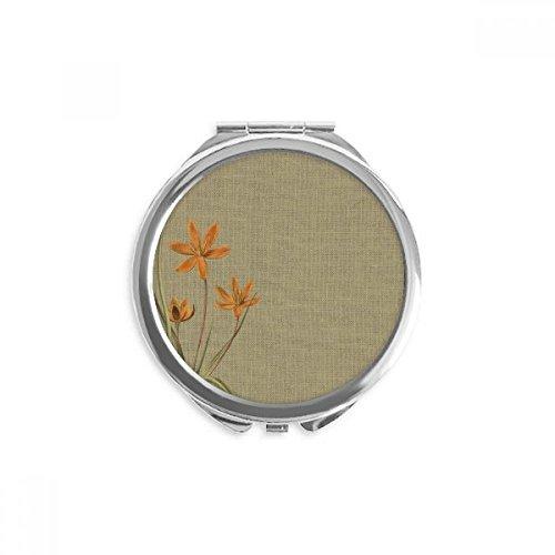 DIYthinker broderie design tradition orchidée lin miroir de maquillage de poche à la main ronde portable 2,6 pouces x 2,4 pouces x 0,3 pouce Multicolore