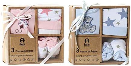 Caja Regalo Set Primera Puesta Bebé Recién Nacido 3 Piezas Algodón 0-6 Meses Estrella Rosa y Azul (Babero, gorro y patucos) (Azul)