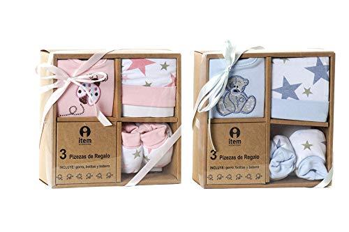 Geschenk-Set, Babyunterlage, 7-teilig, Baumwolle, 0-6 Monate, Stern, Rosa und Blau (blau)